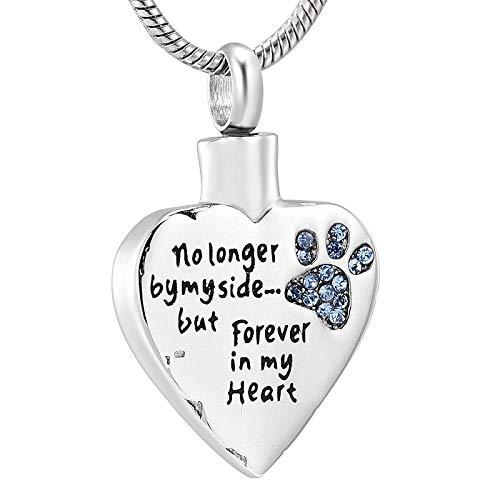 Cadena De Cenizas Urna Cremación Ya No A Mi Lado, Sino para Siempre En Mi Corazón Collar De Urna Funeraria De Relicario Tallado para Mascotas Perros Gatos-A
