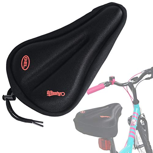 WINNINGO Child Bike Gel Seat Cushion Cover Most Comfortable Small Bicycle Saddle Pad Kids (BLACK)