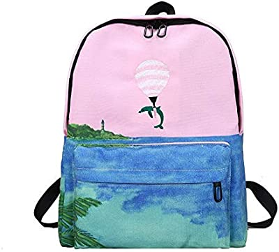 Landscape Embroidery Printing Backpack Women Casual Canvas School Bags for Teenager Girls Four Design Rucksack Mochila