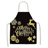 Decoración navideña Delantal Sin mangas Cocina de algodón Cocina Delantales Mujeres Cocina Hogar Cintura Cintura BIB PinaFore 53 * 65cm (Color : 2WQ WQL0057 1)
