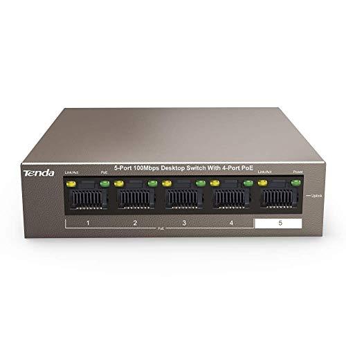 Tenda TEF1105P-4-63W - 5 Port 10/100 MBit/s Desktop Switch mit 4 Port PoE, 63 Watt, Zusätzlich 1x Uplink, Vollduplex, Metallgehäuse, 250 Meter, Plug & Play