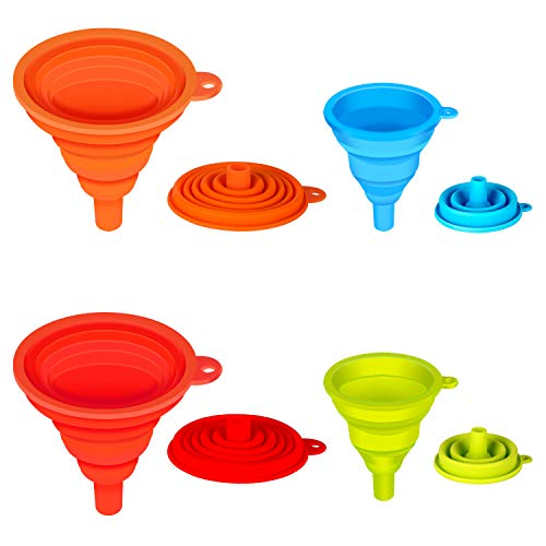 Kitchen Funnel, Kmeivol 4 Pack Funnels for Filling Bottles, Silicone Collapsible Funnel, Narrow and Wide Mouth Funnel, Small Funnel for Water Bottle Liquid Transfer(Red, Orange, Blue, Green) New Jersey