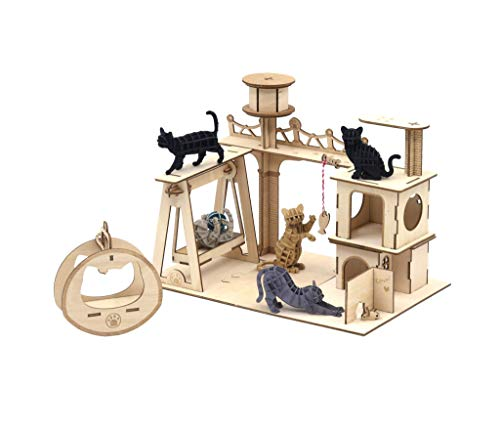 Team Green JIGZLE Paper + 2mm Plywood Wooden 3D Puzzle for Teens and Adults Mechanical Models Kits - 5 Cat Playground Collections