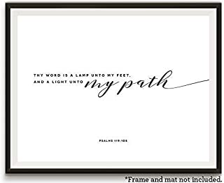 A Light unto My Path, 11x14 Unframed Art Print, Bible Verse Wall Art, Minimalist Home Decor, Gift for Christian, Great Graduation Gift for Him or Her