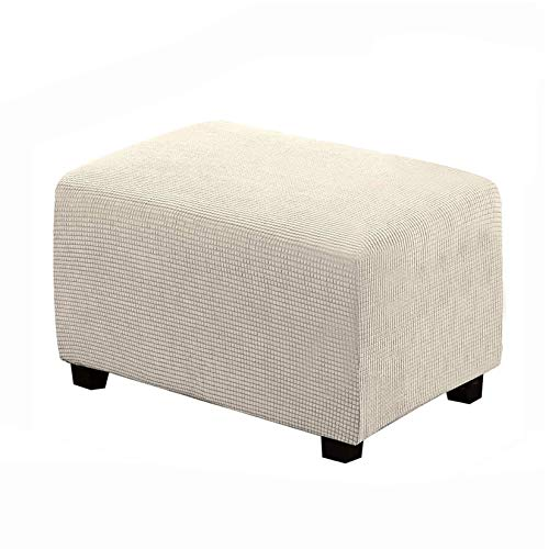 Nati Ottoman Cover Stretch Footrest Cover Washable Slipcover for Sofa Foot Stool Jacquard Rectangle Stool Cover Protector Beige Small