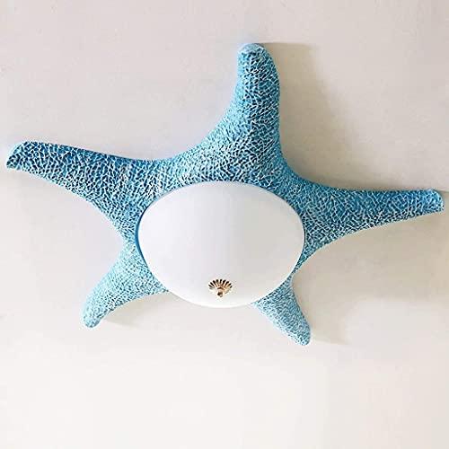 HUAQINEI Luz de Techo,de la Resina de la lámpara de Techo de instalación Embedded níquel Cepillado Simple Pantalla de Cristal Niños Techo de la Sala de la lámpara (Color: Azul)