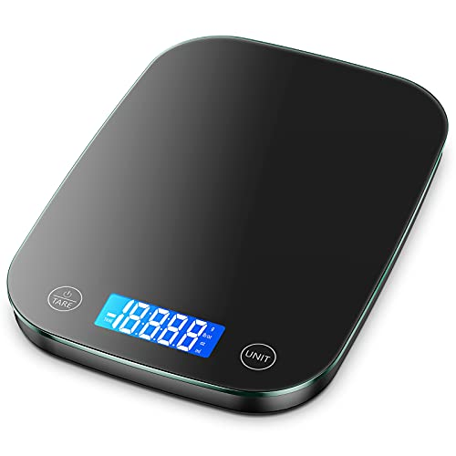 Nicewell Food Scale, 22lb Digital Kitchen Black Scale Weight Grams and oz for Cooking Baking, 1g/0.1oz Precise Graduation,Tempered Glass New Version