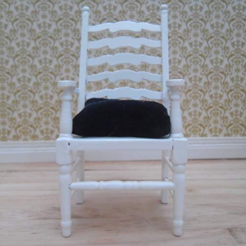 1/12th Skala Puppen Haus weiße Leiter-zurück Carver Stuhl: Deep Plüsch samt blau Sitzpad