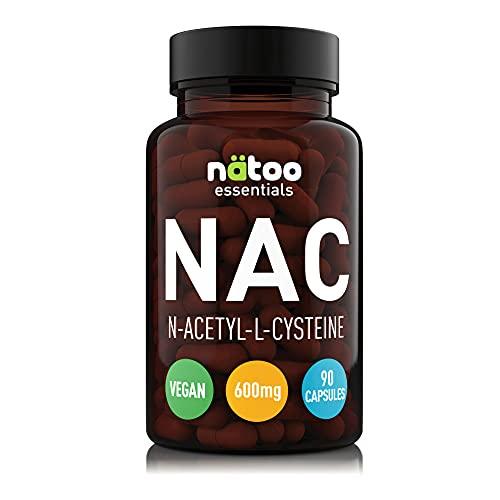 NATOO Essential NAC 600mg 90 capsule vegetali. Integratore Alimentare di N-Actilcisteina, derivato dell'aminoacido L-Cisteina. Precursore dell'antiossidante Glutatione.