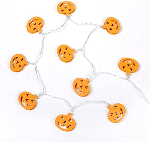 Holiday Decoration Halloween Decorations, 10led Pumpkin Lights Halloween Lights, Metal Halloween Decorations Outdoor Suitable for Halloween Parties Halloween Supplies (Color : Beige)