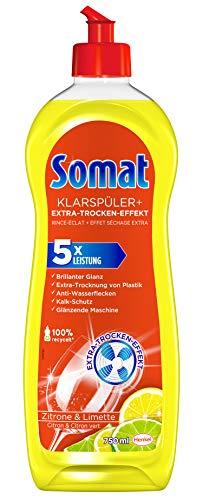 Somat Klarspüler mit Extra-Trocken-Effekt für unschlagbaren Glanz auf Gläsern & Geschirr (Klarspüler Zitrone 1x 750ml)