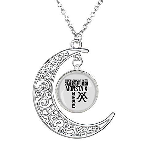 MONSTA X Mode-Entwurfs-Silber-Herz-Kristallhalsketten-Liebes-Halskette silberne Halskette einzigartige Persönlichkeit Schlüssel-hängende Halskette Antlers Halskette ( Color : A12 , Size : Onesize )