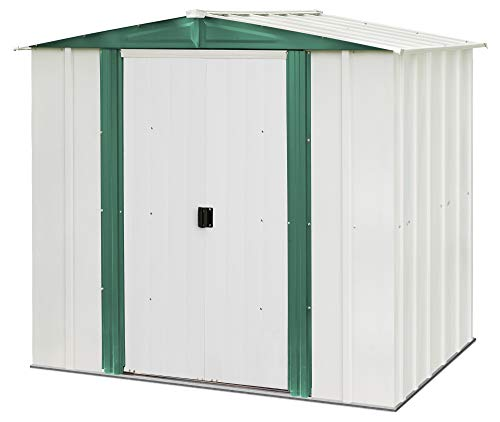 Arrow 6' x 5' Hamlet Storage Shed, Yard and Outdoor Storage for Tools, Lawn Equipment, Pool Toys Eggshell and Green
