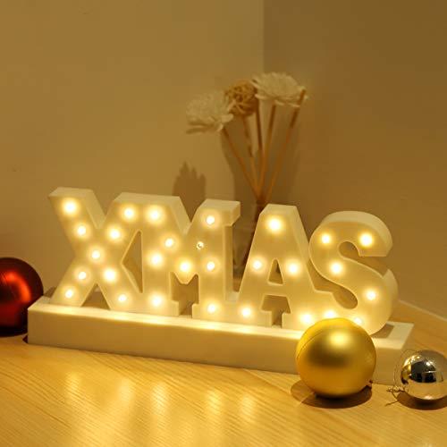 SALCAR LED XMAS Alphabet Licht Brief Lampe, Brief LED Weihnachts Dekolicht, 29 LEDs XMAS für Geburtstag, Party, Hochzeit, Weihnachten, 3AA batteriebetriebenes - Warmweiß