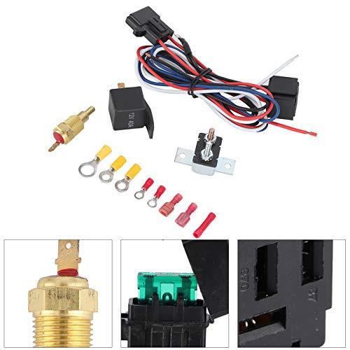 Interruptor de temperatura del termostato del ventilador del radiador de refrigeración eléctrica del motor Accesorios de instalación del coche - Ajuste para el kit de relé de sensor de 110 V