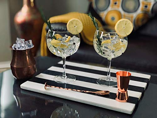 Gin Glasses for Gin Lovers-Set of 2 Handmade G&T Glasses (700ml)  Rose Gold Pro Cocktail Spoon and Double-Sided Jigger   Large Cocktail Glasses in a Gift Box- Authentic Copa Glasses by VEMACITY