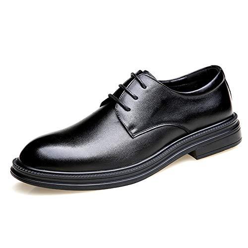 Best-choise Dueño de Oxford Hombres Baja Top Dress Atan for Arriba Zapatos de Punta Redonda de Cuero Genuino Color sólido Resistente al Desgaste Antideslizante Suela de Goma Llamativo