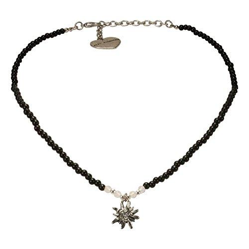 Alpenflüstern Filigran Perlen-Trachtenkette Strass-Edelweiß - Damen-Trachtenschmuck mit antik-Silber-farbenem Edelweiss, Dirndlkette schwarz DHK204