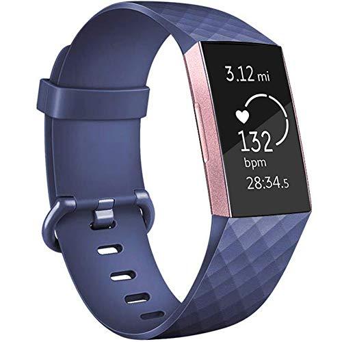 BeYself Compatible para Fitbit Charge 3 Correa, Soft Silicona Deportes Recambio de Pulseras Ajustable Reemplazo Accesorios para Reloj Fitbit Charge 3