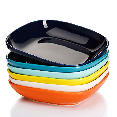 Sweese 120.002 Porcelain Square Salad Pasta Bowls - 22 Ounce - Set of 6, Hot Assorted Colors