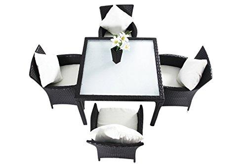 OUTFLEXX Esstischgruppe für 4 Personen aus robustem Polyrattan in braun mit innenliegender Glastischplatte, 100 x 100 cm inkl. Sitzpolster mit Bezügen, Esstischgarnitur mit 4 Stühlen, wetterfest