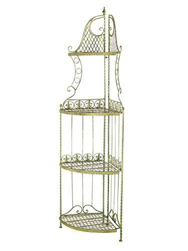 aubaho Regal Eckregal Eisen Garten Gartenregal grün 165cm antik Stil Schmiedeeisen