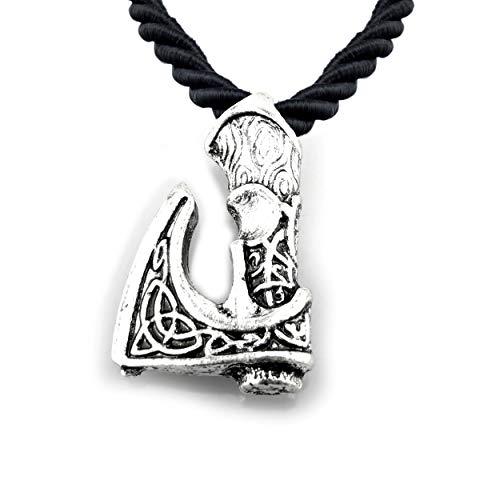 URBANTIMBER Wikinger Halskette Odin's Axt mit keltischen Knoten - Silber
