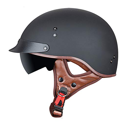 Helmets Classic Vintage Medio Casco,Casco Moto Jet Abierto Retro,DOT Homologado Para Ciclismo Motocicleta Bicicleta Eléctricaoff-Road Casco Exterior Equitación Black2,XXL=62~63cm