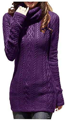v28 Women Polo Neck Knit Stretchable Elasticity Long Slim Sweater 6-10,Purple