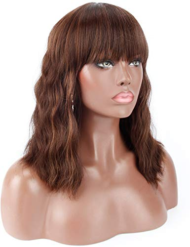 Kalyss 14' Synthetic Brown Highlights Wigs with Hair Bangs Short Wavy Curly Wig for Women -Natural Looking and Heat Resistant Full Head Hair Replacement Wig for Daily Wear or Costume Wig
