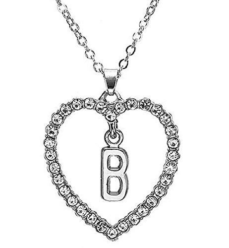 Ketting - initiaal - vrouwen - hart met lichtpunten - naam - letter - alfabet - meisjes - kerst- en verjaardagscadeauidee - zilveren kleur