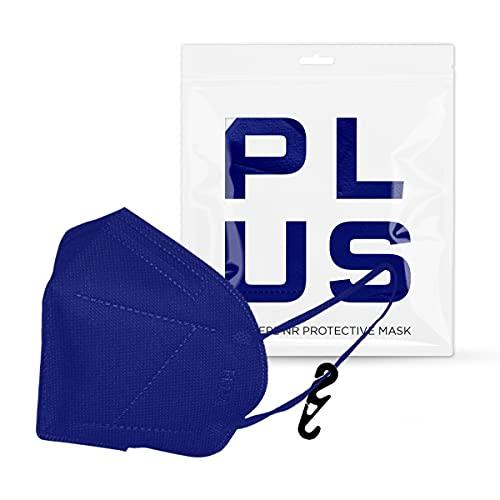 PLUS FFP2-Masken mit bequemen Gummibändern, verstellbarem Nasenstück, Staub- und Pollensicherheit, weißem Interieur, CE-zertifiziert mit Haken Inklusive Packung mit 20 Stück (Blau)