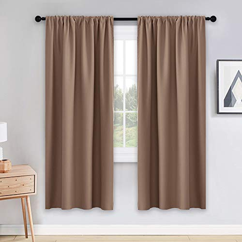 PONY DANCE Light Blocking Panels - Blackout Window Curtain Room Darkening Rod Pocket Thermal Insulated Curtains Energy Saving for Living Room/Draperies, 42 Wide x 72 Long, Mocha, 2 Pieces