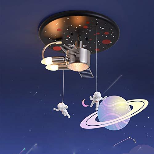 Dormitorio moderno E27 lámpara de techo 2XE14 lámpara redonda habitación niños niña lámpara colgante nave espacial luz de techo sala estudio acrílico resina interior astronauta luz colgante lustre