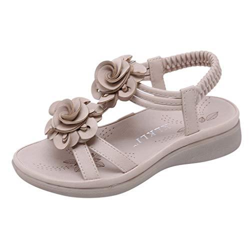 TUDUZ Mädchen Knöchelriemchen Sandalen, Blumen Strand Hausschuhe, Sommer Prinzessin Flach Schuhe, Kinder Offene Sandalen mit Keilabsatz(Khaki,27 EU)