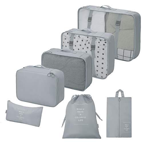 Koffer Organizer Reise Kleidertaschen Packing Cubes 7 Sets Reisegepäck-Organizer mit wasserdichter Schuhaufbewahrungstasche Kompressionstaschen(Grau)