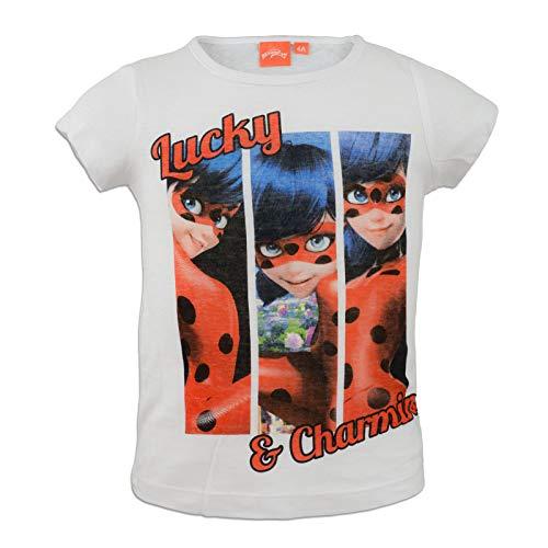 Miraculous LadyBug Cat Noir - T-Shirt Camiseta - para niña - 4714ES [Blanco - 4 años - 104 cm]