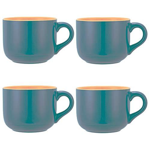 TeenFighter Porcelain Large Oatmeal Mug - 23 Ounces(680mL) Wide Coffee Mug Set of 4, Breakfast Cup and Soup Bowl, Microwave and Dishwasher Safe, Ceramic Mug for Milk, Tea, Fruit, Ice Cream…