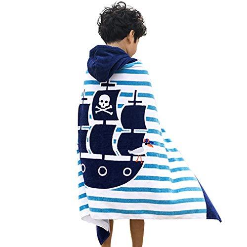 Comfysail 100% Coton Serviette Enfants Poncho à Capuche pour Les Garçons Et Les Filles De 2-7 Ans Idéal De La Plage et De Bain (Bateau)