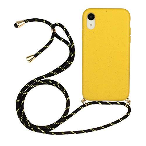 iPhone 11 telefoonketting telefoonhoes voor iPhone 11 cover met band silicone mobiele telefoon ketting telefoonhoes met koord omhangen -mobiele telefoon halsband lanyard case / mobiele telefoon band halsband halsband halsketting iPhone 11 geel