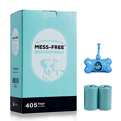 MESSFREE Biodegradable Dog Poop Bags for Dog Waste with 2 Holders 405 Count 27 Rolls