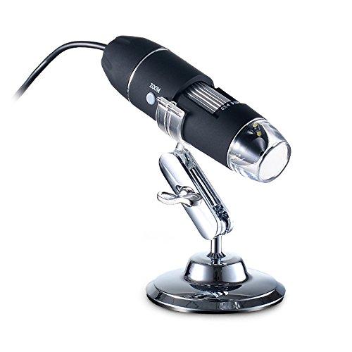 Aibecy draagbare USB digitale microscoop 1000x vergroting camera 8 LED's met metalen houder compatibel met Windows XP / Vista / Win 7 8 10