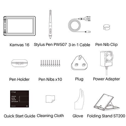 HUION Kamvas 16 Tableta Función de inclinación del monitor (± 60 °) Sin batería Stylus 266PPS HD Gráfico Dibujo a lápiz Pantalla antirreflejo 8192 Niveles 14 Teclas Express 1 Barra de toque