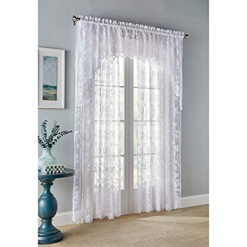BrylaneHome Floral Vine Rod Pocket Curtain Curtain Window Drape - 60I W 84I L, White
