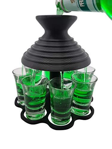 Schnapsschirm - Boquilla para chupitos para 8 pinchos al mismo tiempo, idea de regalo – Gadget – Diversión – Juego de beber – Soporte para chupitos – embudo (antracita/negro, incluye vasos)