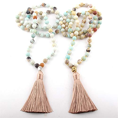 JWWLLT Fashion Bohemian Tribal Beige Beige Tassel Yoga Piedra Buda Collar para Las Mujeres Lariat Collares (Length : 90cm, Main Stone Color : Amazonite Stone)