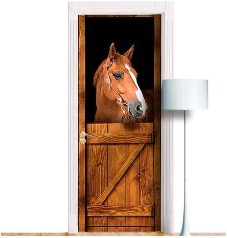 Door Mural Tan Horse Horses Stable View Effect Decal Mural Home Decor Window Sticker Wallpaper Home Living Vinyl Bedroom Lounge Kitchen 44B
