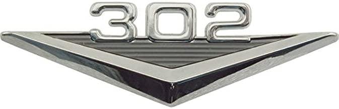 MACs Auto Parts 41-35750 Custom Fender Emblem, 302, Mimics Original 289 V-Shaped Emblem, Black-and-Chrome