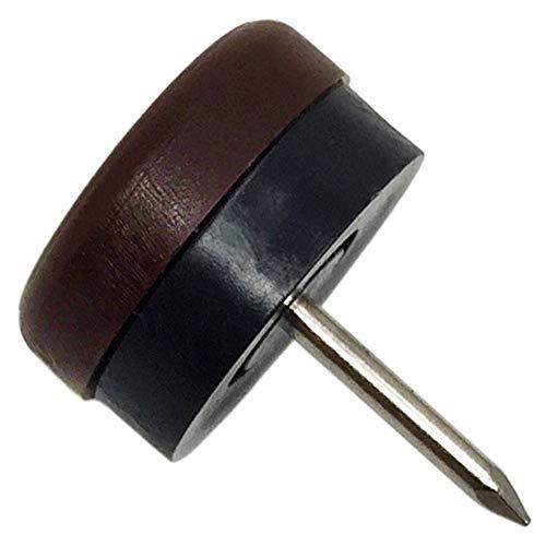 Adsamm 32 x Kunststoffgleiter mit Puffer und Nagel | Ø 20 mm | Braun | rund | Möbelgleiter mit Dämpfer und Stift in Premium-Qualität
