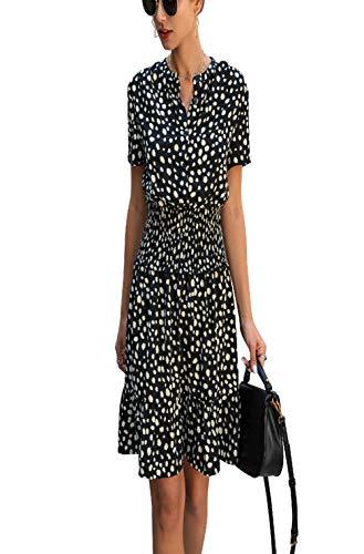 Mini vestidos de leopardo casual negro con volantes, botones para mujer, talle morado, ropa ajustada